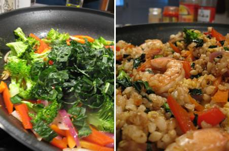 Five Spice Brown Rice - Vegetables - Kale - Shrimp - ForkFingersChopsticks.com