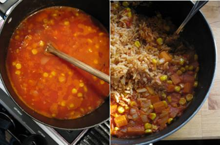 Mexican Rice - before after cooking - ForkFingersChopsticks