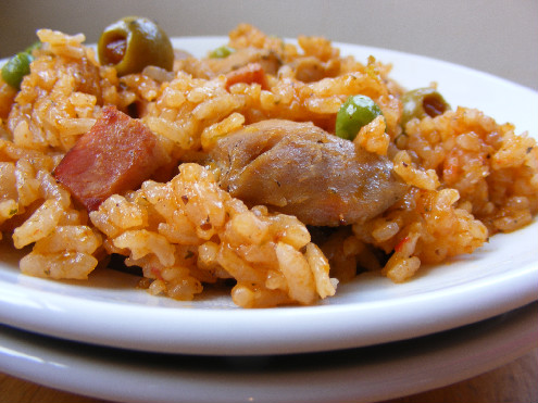 Puerto Rican - Arroz con Pollo - Rice with Chicken - ForkFingersChopsticks.com