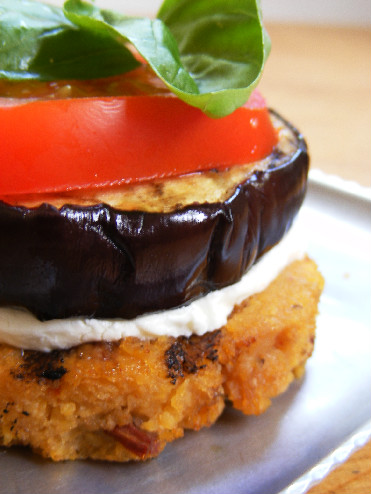 goat cheese and polenta goat s cheese stacks got chèvre polenta stack ...