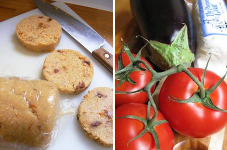 Cornmeal: 2 Tomato 2 Cheese Polenta Stack | Fork Fingers Chopsticks