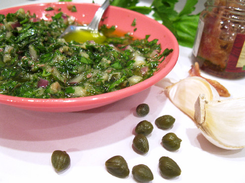 Italian Salsa Verde Parsley Anchovies_ForkFingersChopsticks.com