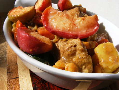 savory chicken apple stew tajine