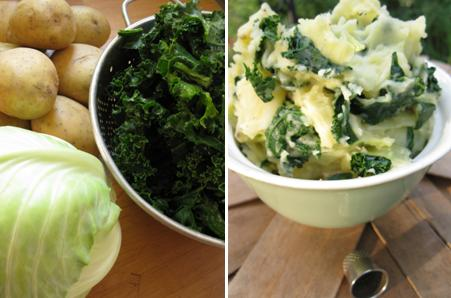 Mashed potatoes with kale and cabbage